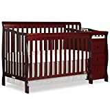 Cherry Wood Crib with Changing Table Dream On Me 5 in 1 Brody Convertible Crib with Changer, Cherry