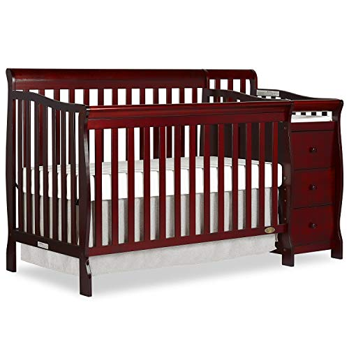 Dream On Me 5 in 1 Brody Convertible Crib with Changer, Cherry ()