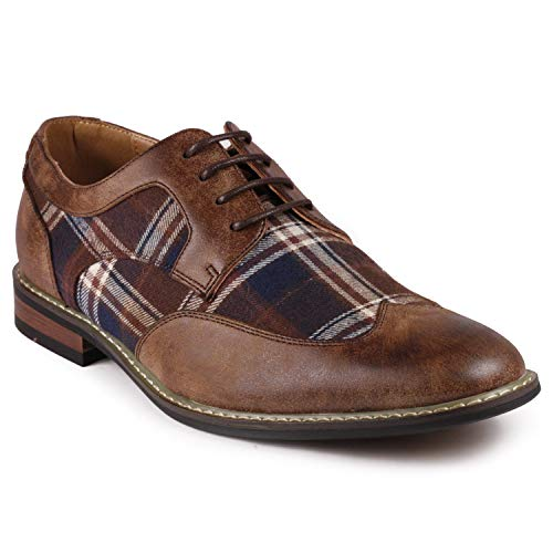 Metrocharm Alex-06 Men's Plaid Lace Up Wing Tip Classic Oxford Dress Shoes (7.5, ()