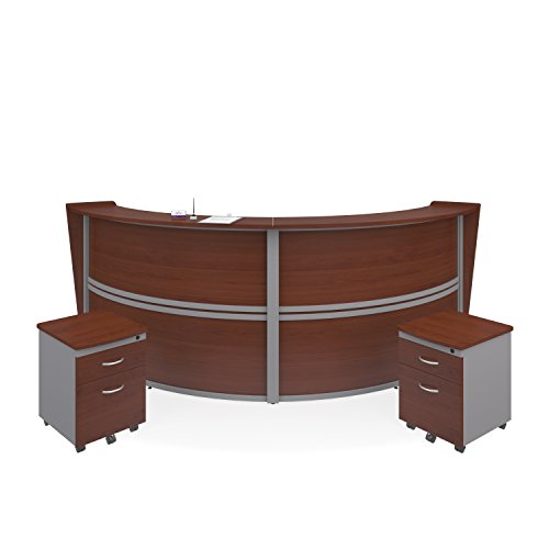 Modular Reception Unit (OFM Marque Series Double-Unit Curved Reception Station - Office Furniture Receptionist/Secretary Desk with Two Cherry Pedestals (PKG-RCPN-06-0001))
