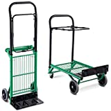Goplus Folding Hand Truck 2 in 1 Multi-Functional Dolly Gardening Lawn Leaf Bag Support Platform Truck Cart, 200-lb Capacity, Green
