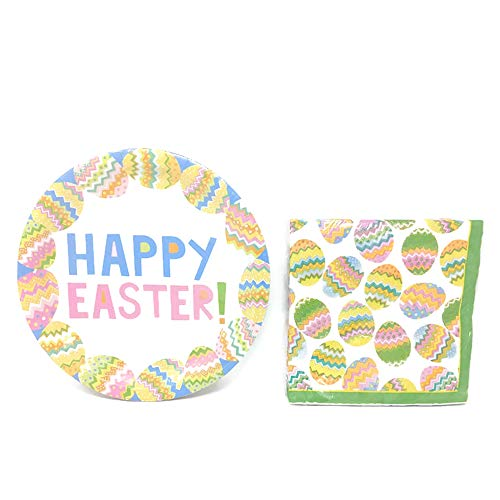 Easter Paper Plates And Napkins Set With Colorful Decorated Easter Egg Theme: 18 Paper Plates, 18 Paper Luncheon -