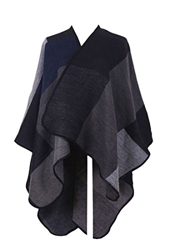 PinkWind Women Checked Cashmere Coat Winter Poncho Shawl Cardigans Sweater Black One Size