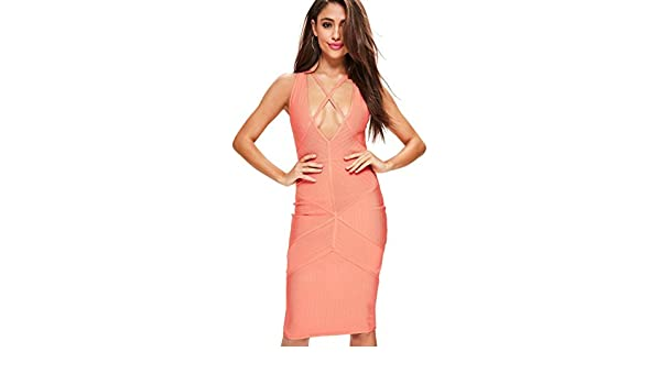 Missguided Coral Pink Strappy Harness Bandage Midi Dress 4 at Amazon Womens Clothing store: