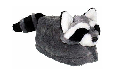 Happy Feet 50+ Styles - Premium Full Foot Mens and Womens Animal Slippers Raccoon DKAZMRr