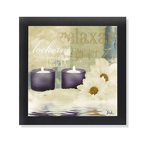 Relaxation I Spa Bathroom Black Framed Art Print Poster 12x12 (Framed Wall Art Bathroom)