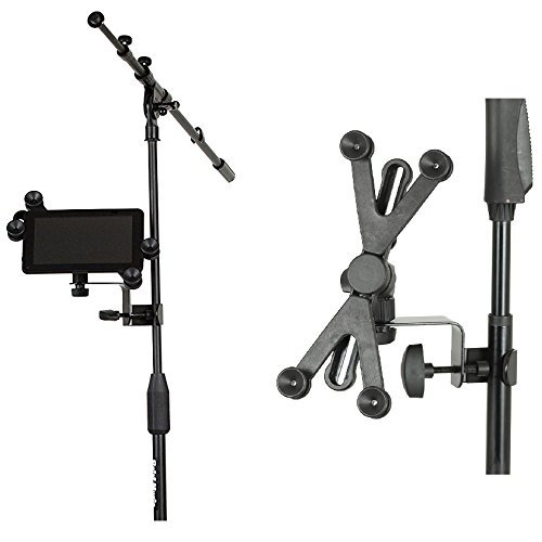 (Hola! Music HM-MTH Microphone Music Stand Tablet/Smartphone Holder Mount - Fits Devices from 6 to 15 Inch)