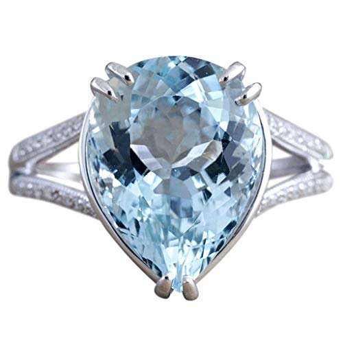 FEDULK Lady's Fashion Rings Luxury Diamond Wedding Engagement Aquamarine Dripping Rings Jewelry for Women(Blue, 6)