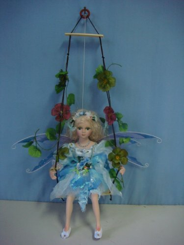 "Jmisa 16"" Porcelain Fairy Doll on Swing"