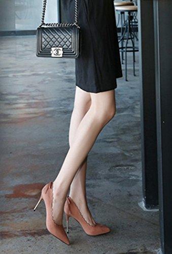 MDRW-Lady Elegant Arbeit Freizeit Feder Hingewiesen Hingewiesen Hingewiesen Veloursleder Gewellte Rand Bug Rosa 9 Cm High Heel Schuhe Mode Einzelne Schuhe Frauen Schuhe 50ce97