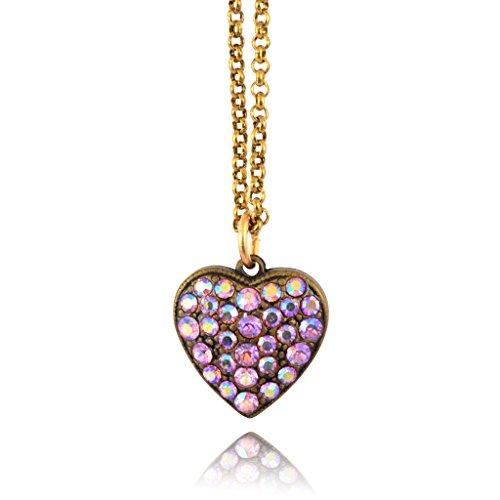 Anne Koplik Pave Heart Necklace, Gold Plated Pendant Anne Koplik Designer Necklace
