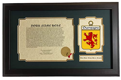 Champagne - Coat of Arms and Last Name History, 14x22 Inches Matted and Framed