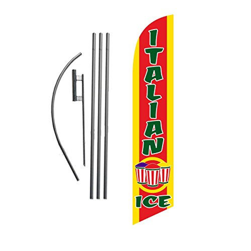 Italian Flag Sign - Italian Ice 15ft Feather Banner Swooper Flag Kit - INCLUDES 15FT POLE KIT w/ GROUND SPIKE