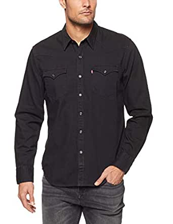 Levi's Men's Barstow Western Casual Shirts, Black, Small