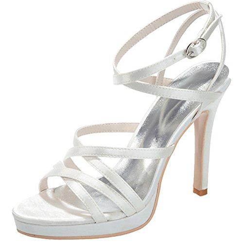 Loslandifen Mujer's Open Toe Satén Tobillo Plataforma Tacones Altos Zapatos De Boda Nupcial Marfil-a