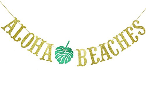 Aloha Beach Decor - Hawaiian Aloha Beaches Banner Decorations with Palm Leaves Garland for Hawaiian Tropical Luau Beach Summer Party Supplies Decor Favors Bunting Photo Booth Props Sign (Gold & Green Glittery)