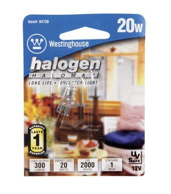 - Westinghouse Halogen Light Bulb 20 W 300 Lumens T3 G4 1-3/16 In. Clear Carded