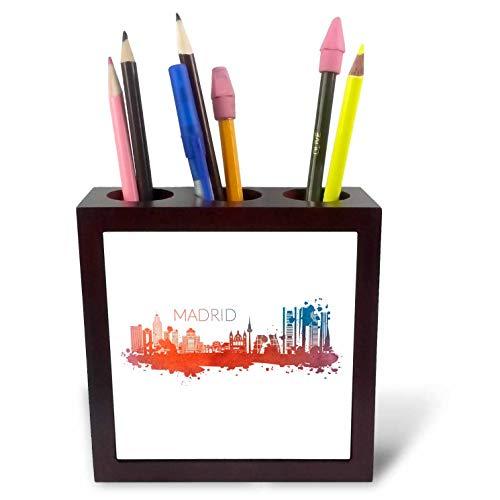 (3dRose Sven Herkenrath City - Skyline of Madrid Spain with Watercolor Art Tourist - 5 inch Tile Pen Holder (ph_310987_1))
