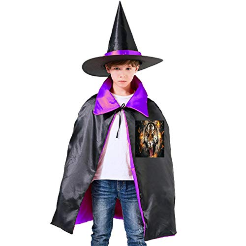 The Burning Tiger Halloween Shawl and Witch Hat for Children Kids Purple -