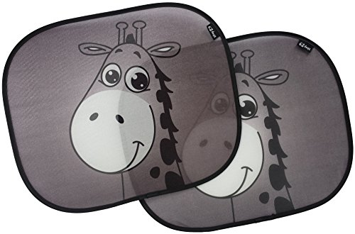 des, Best Car Window Shade for Baby, Protect Your Infant & Child. 2x Giraffe Design Sunshade Car Blinds EZ-Bugz ()