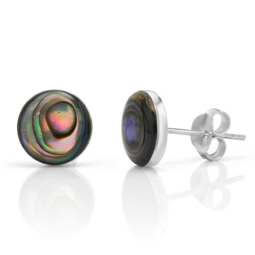 Abalone Round Earrings (925 Sterling Silver Tiny Green Abalone Shell Circle Post Stud Earrings)
