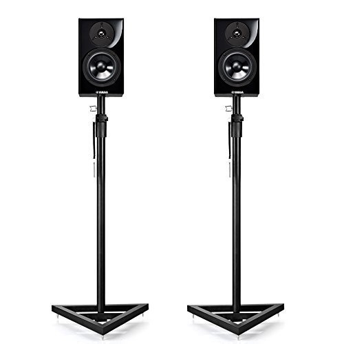 Flexzion Speaker Stand Floor Standing Mount with Triangle Base Height Adjustable (38''- 57'') Set of 2 for Concert Band DJ Studio Monitor Home Theater by Flexzion