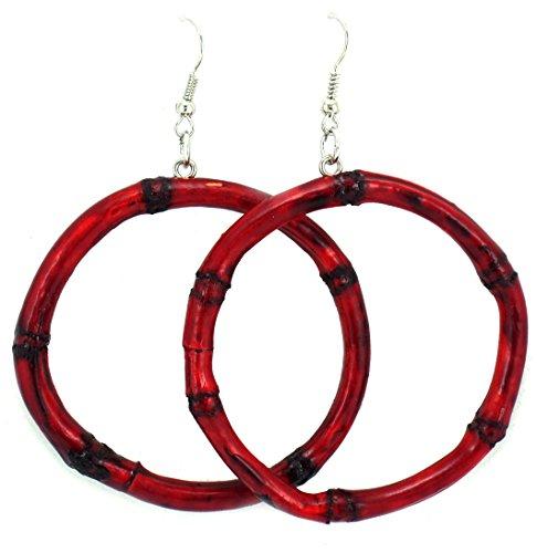 Womens Bamboo Earrings – Wooden Earrings – Rasta Earrings – Wooden Handmade Earrings (Red)