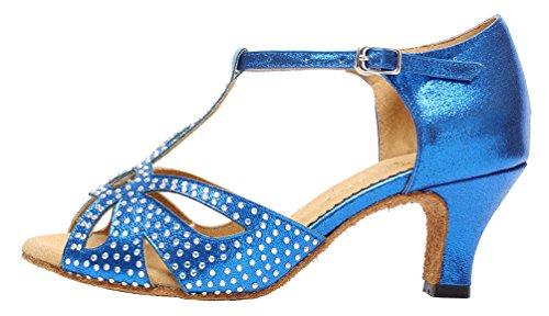 Blue Womens Ballroom Shoes Satin Latin Dance Tango 6182 JJ CFP BfXzEE