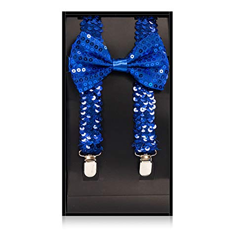 Buha Suspenders for Men, 2 in 1 Suspenders and Bow Tie, Mens Outfits Casual Suspender and Bow Tie Special Edition (Sequins-Royal Blue) -