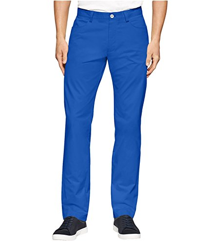 Calvin Klein Mens Sateen Slim Casual Trousers strongblue 33x32 Cotton Sateen Trousers