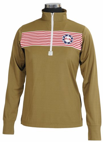 - Equine Couture Women's Patriot Long Sleeve Polo, Military Olive, Small