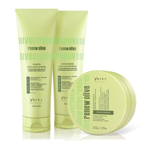Ybera Renew Olive Home Care Kit Nutritious Shampoo 8.4 Oz & Conditioner 8.8 Oz & Mask 6.8 Oz Daily Care with Olive Elixir ()
