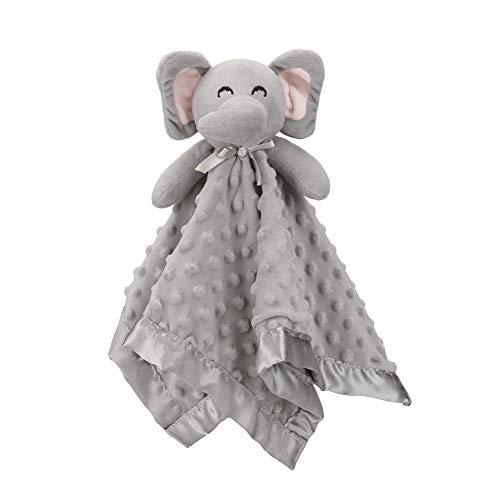 (Pro Goleem Elephant Baby Lovey Stuffed Plush Lovie/Security Blanket for Boys and Girls Minky Dot Fabric Best Gift for Newborn/Infant (Gray, 15