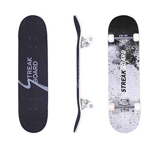 streakboard Skateboard 7 Layer Canadian Maple Double Kick Deck Concave Cruisers, Standard Skate Boards for Youths…