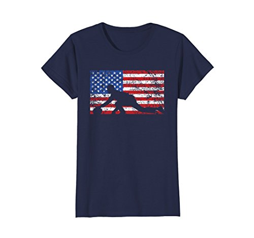 Womens American Flag Curling T-Shirt, USA Gift, Curling Team Large - Usa Com Shop Team