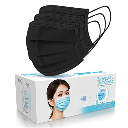50 PCS Black Disposable Face Masks 3-Ply Filter Earloop Mouth Cover, Face Mask