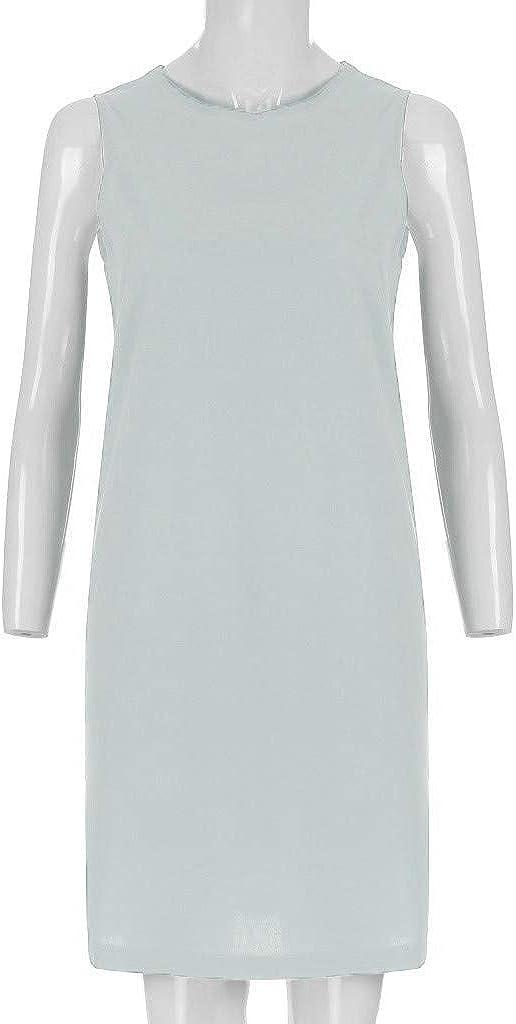 GOWOM Womens Ladies Fashion Solid Short Sleeve O-Neck Casual Dress Summer Dress