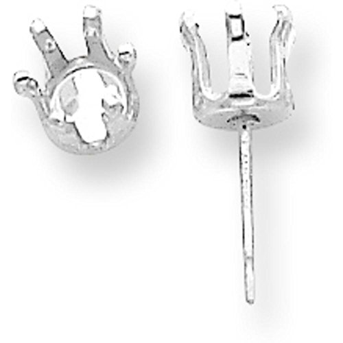 Sterling Silver 6 Prong Round Snap In Earrings 3mm Pack of 4 Backs not Included