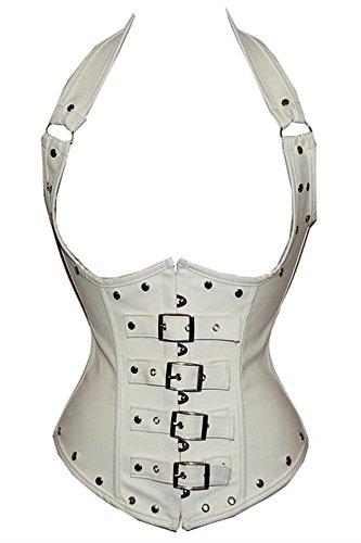 Mujeres Lace Up Boned geométrico diseños corsé blanco y negro