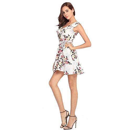 M estivi Abiti Sexy a casual scollo donna Bianca dimensioni stampa senza maniche abito casual da Colore Bianca WANG Vestiti V da gHqAq