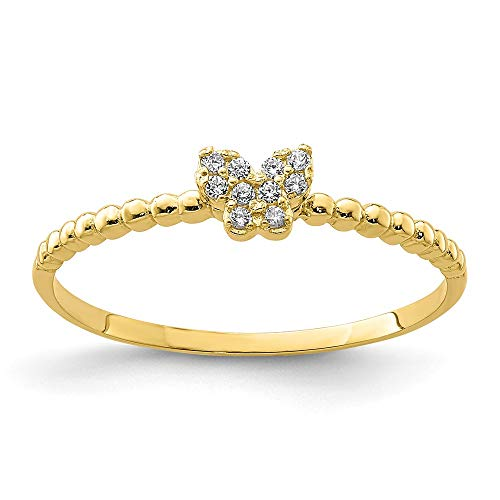 10k Yellow Gold Butterfly Cubic Zirconia Cz Band Ring Size 7.00 Fine Jewelry Gifts For Women For Her
