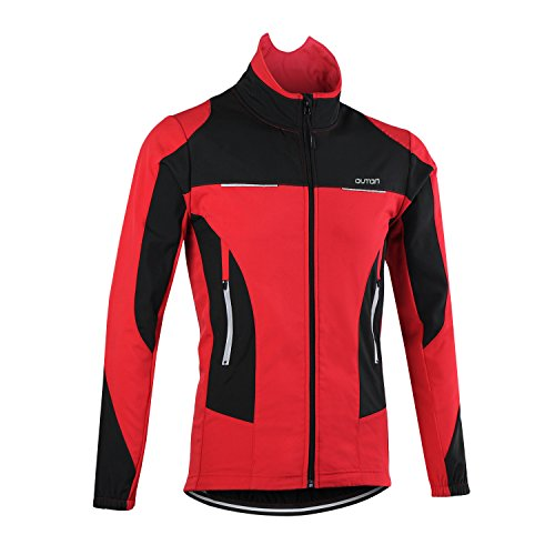 OUTON Men's Cycling Jacket Windproof Breathable Lightweight Reflective Warm Thermal Stand-up Collar Waterproof MTB Mountain Bike Jacket (Red, - Cycling Men Apparel
