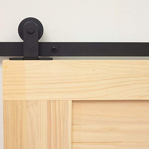 HOMAG Rustic Black Sliding Barn Door Hardware Standard Double Door Kit, 12FT Flat Track T-Shape Design Roller,Heavy Duty Interior Exterior Use (Header Size For 12 Foot Garage Door)