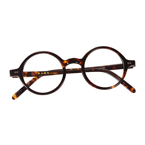 Agstum Handmade Small Round Optical Eyeglasses Frame Clear Lens (Tortoise shell, ()