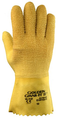 Cotton Ansell Gloves (Ansell 16312 Golden Grab-It II Premium Latex-Coated, Crinkle Finish Gloves, 12.5