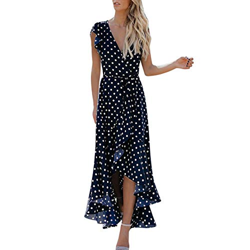 STORTO Womens Dots Boho Mini Dress Lady Beach Summer Sundress Maxi Dress Blue ()