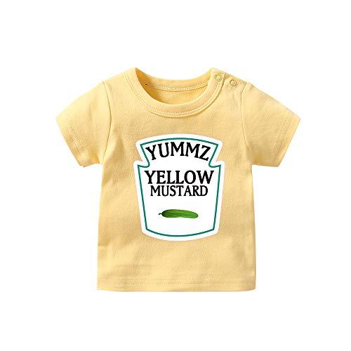 Pair Yellow T-shirt - YSCULBUTOL Unisex Baby Bodysuit Boy Girl Short Sleeve T-Shirt A Pair Newborns Toddler Tee Shirts (Mustard, 3T)