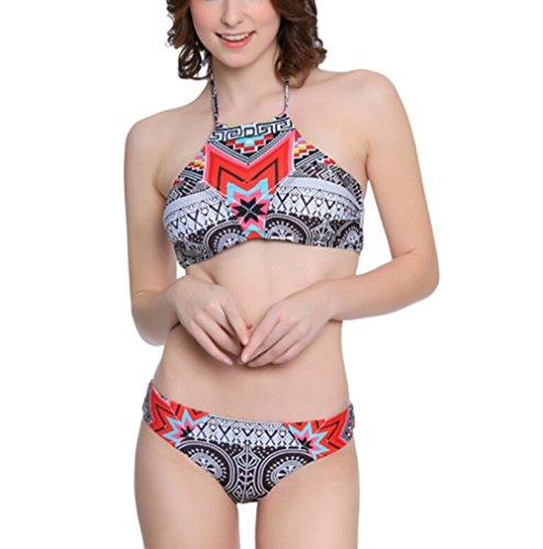 SOMMRY Bikini Set Push up Bademode Zweiteilige Schöne Badeanzüge Frauen reizvolle Tankini Mädchen Bunt Stoffdruck Strand Schwimmanzug Oberteile und Höschen (Ohne Bügel)