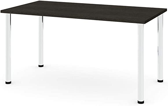 Bestar, Universel Collection, 30 x 60 Table Desk with Round Metal Legs