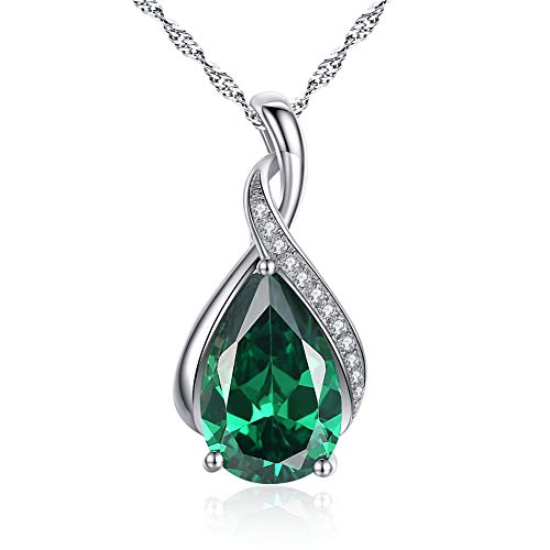 (MABELLA Jewelry Sterling Silver Simulated Emerald Birth Month Stone Pendant Necklace Mother's Day Gifts for Women)